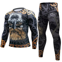 2pcs/Sets Man Compression Tight pants+T-shirt Leggings Men Sports Running Suit Jogging Gym Training MMA Rash Guard Male Cothing(China)