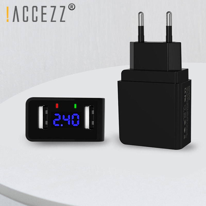ACCEZZ EU Dual Plug Quick Charger Adapter For Iphone XR XS Huawei Xiaomi Samsung Fast Charging With LED Display Current Voltage in Mobile Phone Chargers from Cellphones Telecommunications
