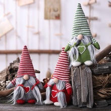 Christmas Santa Doll With Striped Hat Holiday Desktop Ornament Swedish Plush Gift Decorations Pendant