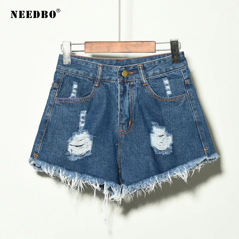 NEEDBO Shorts Jeans Summer Short For Women 2019 Denim Shorts High Waist Casual Short Femme Vintage Hole Short Pants Ladies