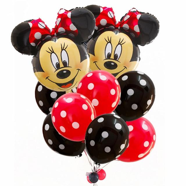 12 sztuk/partia Mickey Minnie głowy foliowe balony z helem 2.8g czerwony czarny rozkloszowana spódnica Dot Birthday Party Baby Shower dekoracje ślubne