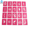 20PCS OPHIR Pink Temporary Tattoo Stencils Flower Glitter Tattoo Body Paint Stencils Henna Templates  Sheets 7x9cm _STE001