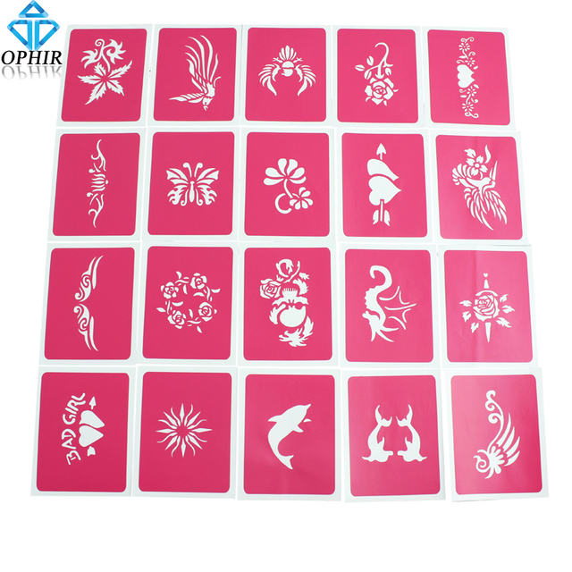 20PCS OPHIR Pink Temporary Tattoo Stencils Flower Glitter Tattoo Body Paint Stencils Henna Templates  Sheets 7x9cm _STE001