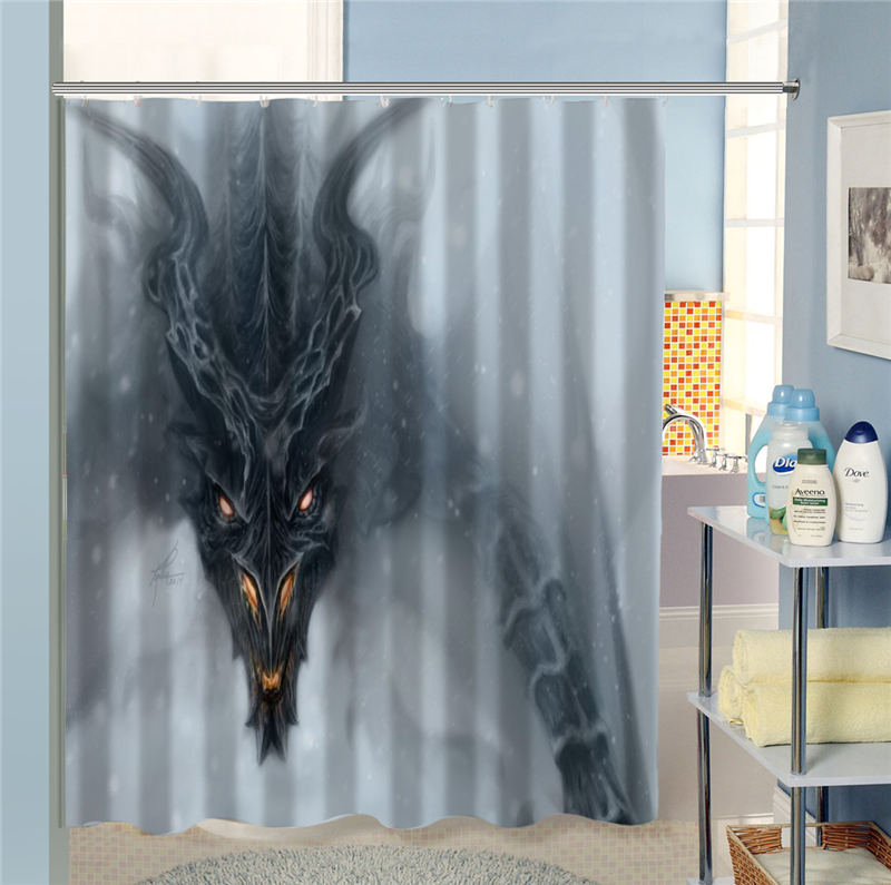 Free Shipping Creative Dragon Shower Curtain Bathroom Waterproof Home Decoration MORE SIZE SQ0622 HXL07 In Curtains From Garden On