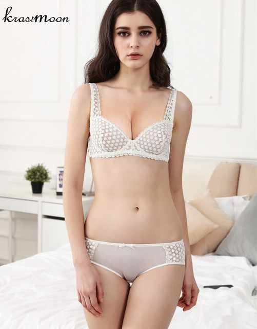 New Model Bra & Brief Sets Flower Gauze Lace Embroidery ...