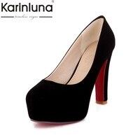 KarinLuna 2018 Large Size 33 43 High Heel Pumps Black Red Mary Janes Shoes Woman Slip