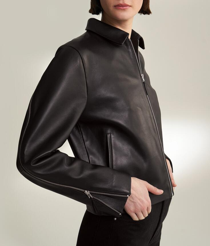 Fashion Black Lucca leather jacket front zip side slip pockets twisted zips along the sleeves cropped Leather Jackets Woman
