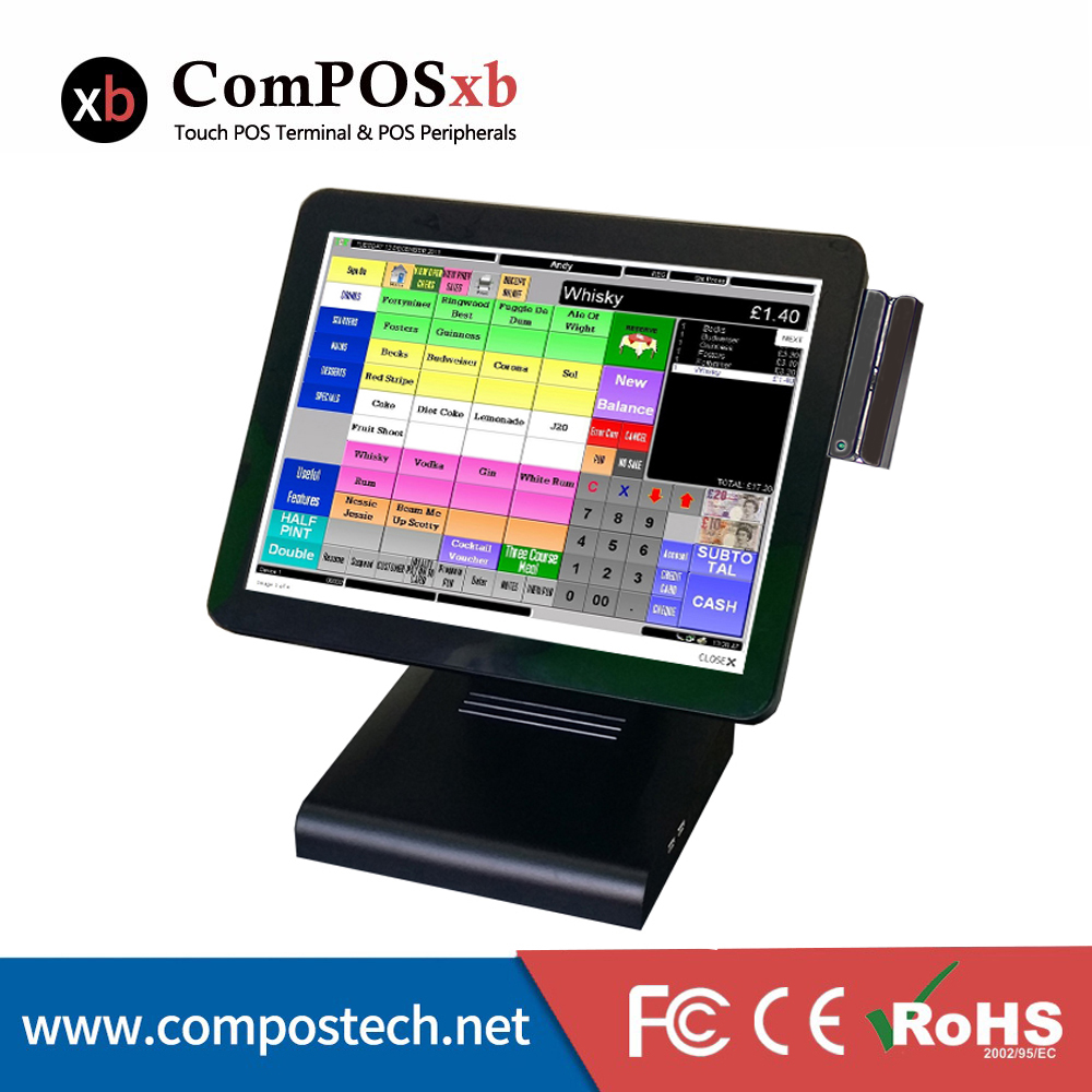 15 Inch Screen Touch POS System Manufacturer Touch Pos terminal Full Flat POS System With MSR For Supermarket