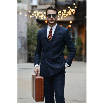 Fashion classic men's suit blue lapel double-breasted men's groomsmen dress and business office suits (jacket + pants) custom