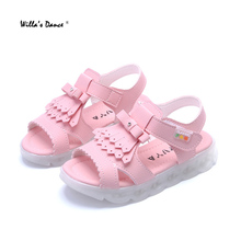 High Quality Girls Led Sandals 2017 Summer Tessel Casual Shoes for Kids Girls Flash Glowing Sandals