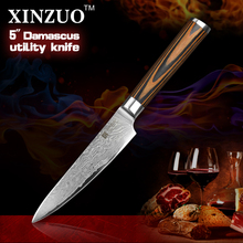 XINZUO 5″ Utility knife Japanese VG10 Damascus steel kitchen knife paring fruit knife colour wood handle wholesale FREE SHIPPING