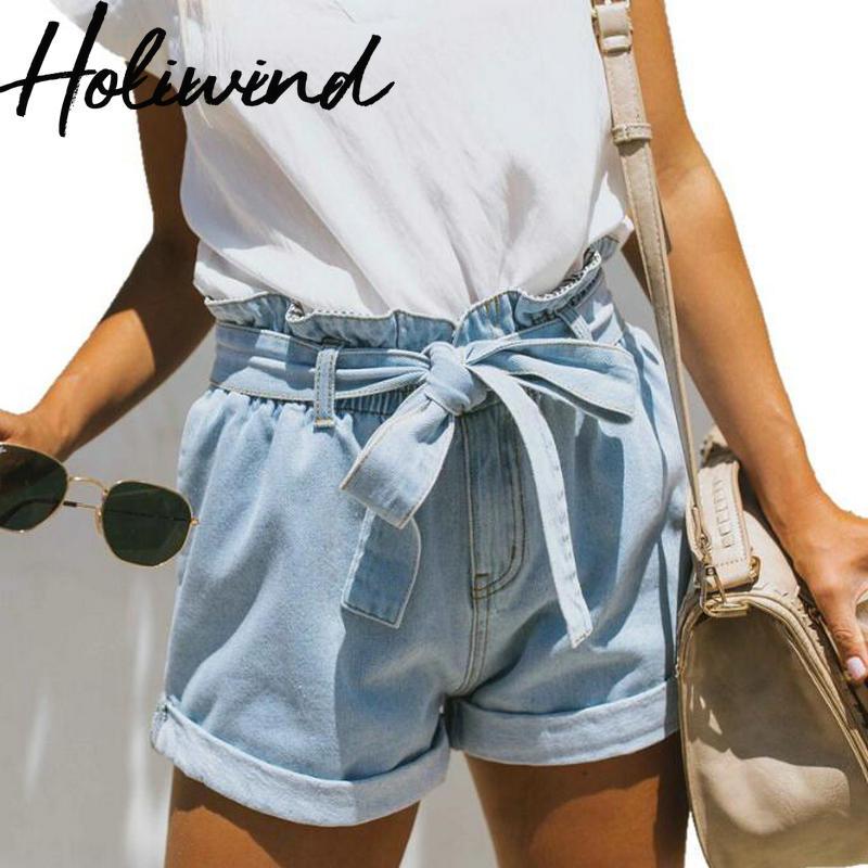 2019 Summer Women Denim Shorts High Waist Paper Bag Jeans Shorts Bow Belted Loose Causal Shorts