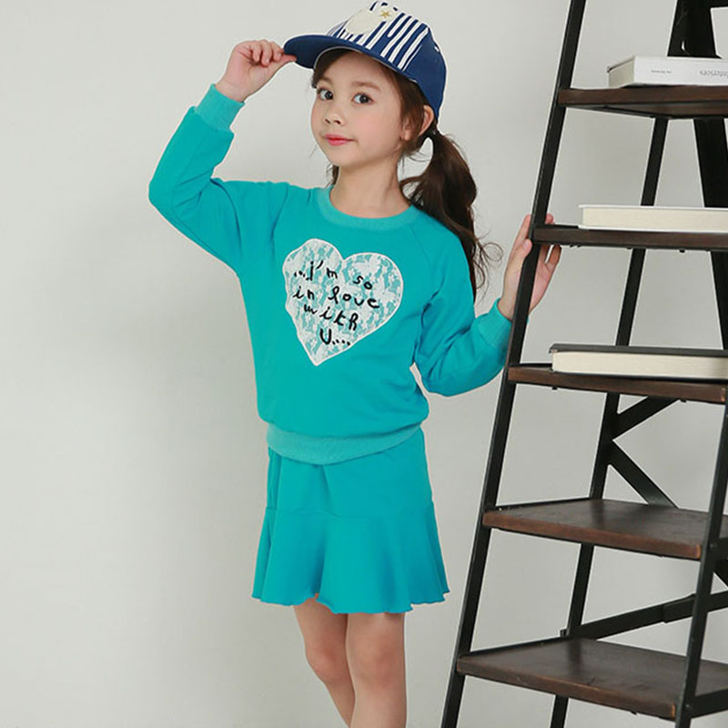 children clothing sports clothing girls sports suit autumn 2017 skirts big baby girls clothes sets sweatshirts & pleated skirts