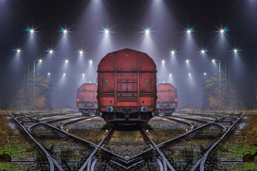 DIY frame Train Railway Night Mist Lights Scenery Landscape Poster Fabric Silk Posters And Prints For Home Decoration