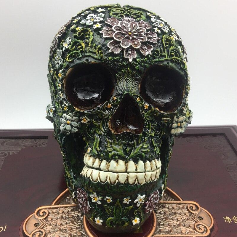 Statue de crâne de résine réplique de crâne humain modèle médical fou crâne anatomie œuvre vie croquis enseignement statue lifesize figurine