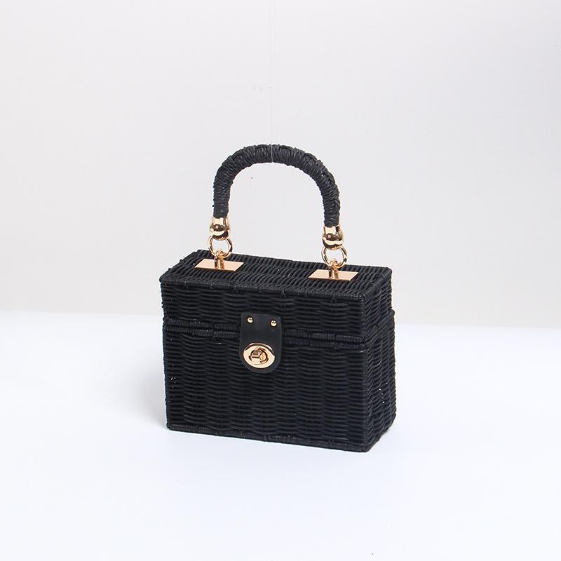 Square Shape Straw Bucket Bag