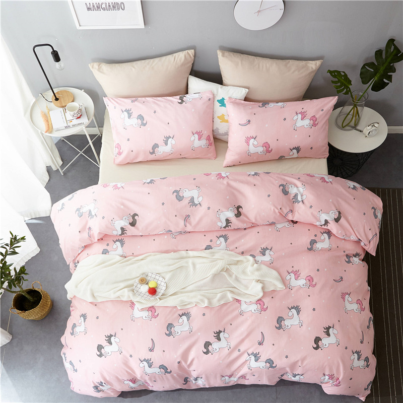 Cartoon Style Unicorn Pattern Quilt Cover Sets Single Queen King Size Kids Beddings and Bed Set