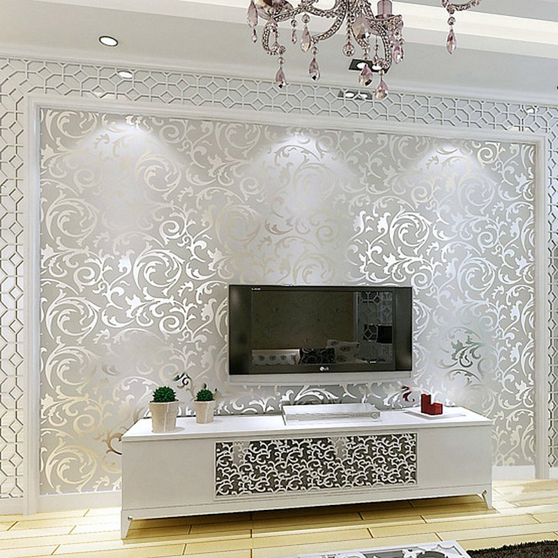 Modern 3D Embossed Wallpaper Roll Non-Woven Glitter Wall Paper For Walls Living Room TV Backdrop Wall Covering Luxury Home Decor luxury damask wall paper roll floral 3d stereoscopic embossed non woven mural wall bedroom living room tv background home decor