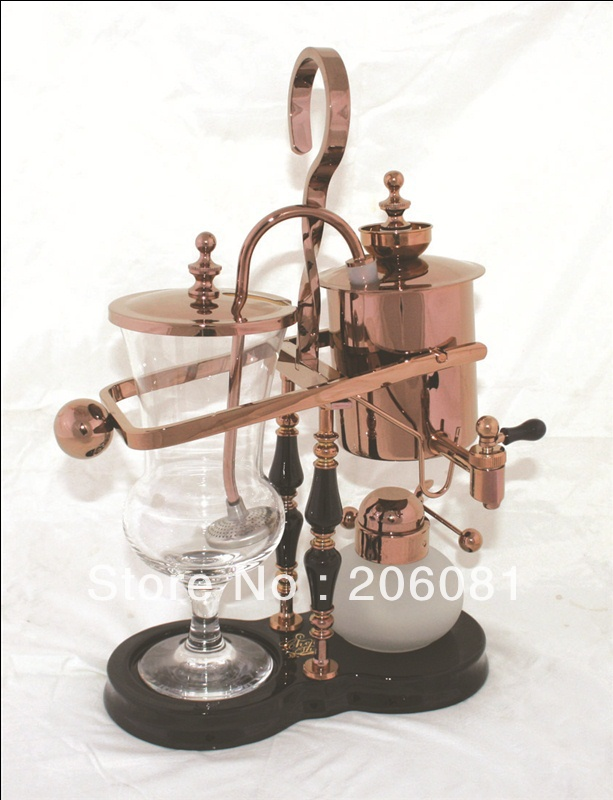 Luxury Rose Gold Balancing roayl syphon coffee maker/Siphon coffee maker /Tea pot with top quality ,perfect chrsitmas gift dmwd japanese style siphon coffee maker tea siphon pot vacuum coffeemaker glass hydrocone type coffee machine filter 3cup 5cups