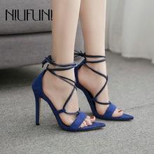цена на Plus Size Pointed Peep Toe Cross Bandage Sandals Women Fashion 2020 Super High Heels Bicolor Female Slip Ons Sexy Women's Shoes