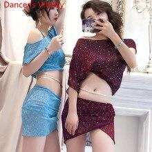 Jupe de danse du ventre 2 pièces, robe Sexy pour débutant pour femmes, tenue de scène, tenue de groupe, collection haut à paillettes