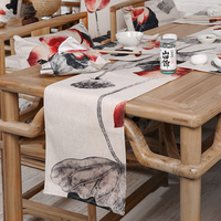 High Grade Home Table Decor Chinese Style Rural Retro Lotus Pattern 5661 Linen Placemat Tea Western