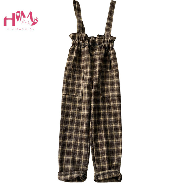 b1c7c1df73 Korean Leisure Vintage Women Jumpsuits Japanese Sweet High Waist Casual  Plaid Overalls Puffles Girls Suspender Wide Leg Pants
