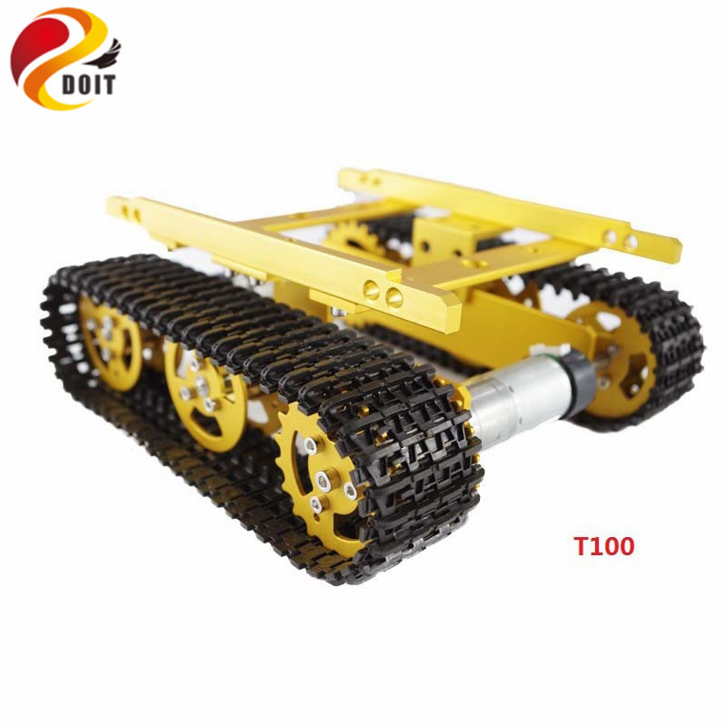 T100 Robot Tank Car Chassis Crawler Tracked Model Caterpillar Chain Vehicle Mobile Platform Tractor DIY RC Toy