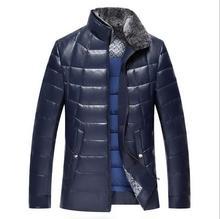 Luxury Winter Warm Men's Leather Jackets Fashionable White Duck Down Men Warm Coat Big Yards Men Warm Fur Coat