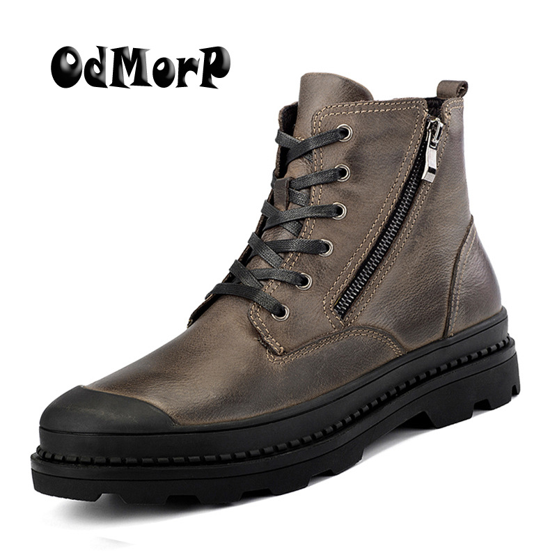 ODMORP Big Size 38-47 Men Boots Genuine Leather Winter Boots Shoes Men, Warm Furry Boots Men, Fashion Ankle Snow Boots For Men elevator shoes taller 2 56 inch winter genuine leather men boots fashion warm wool ankle boots men snow boots shoes hot sale