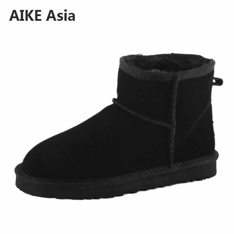 Australia Women Snow Boots 100% Genuine Leather Ankle Boots Famous Brand Cowhide Warm Winter Boots Woman Shoes Large EUR 33-44 image