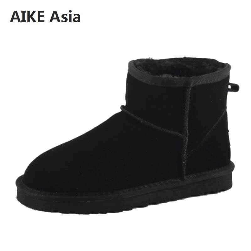 Avustralya kadın kar botları 100% hakiki deri yarım çizmeler ünlü marka dana sıcak kışlık botlar kadın ayakkabı büyük EUR 33- 44