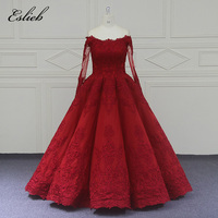 Eslieb Custom Made The Newest Ball Gown Vintage Wedding Dresses Red Lace Long Sleeve Wedding Dress