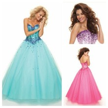 цена на Purple/Hot Pink Tulle Corset Bodice Ball-Gown Princess Lace-Up Prom Dresses