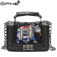 Vintage Elephant Rivet Bags Handbags Women Famous Brands Louis Handbag Fashion Chains Lock Leather Shoulder Bag