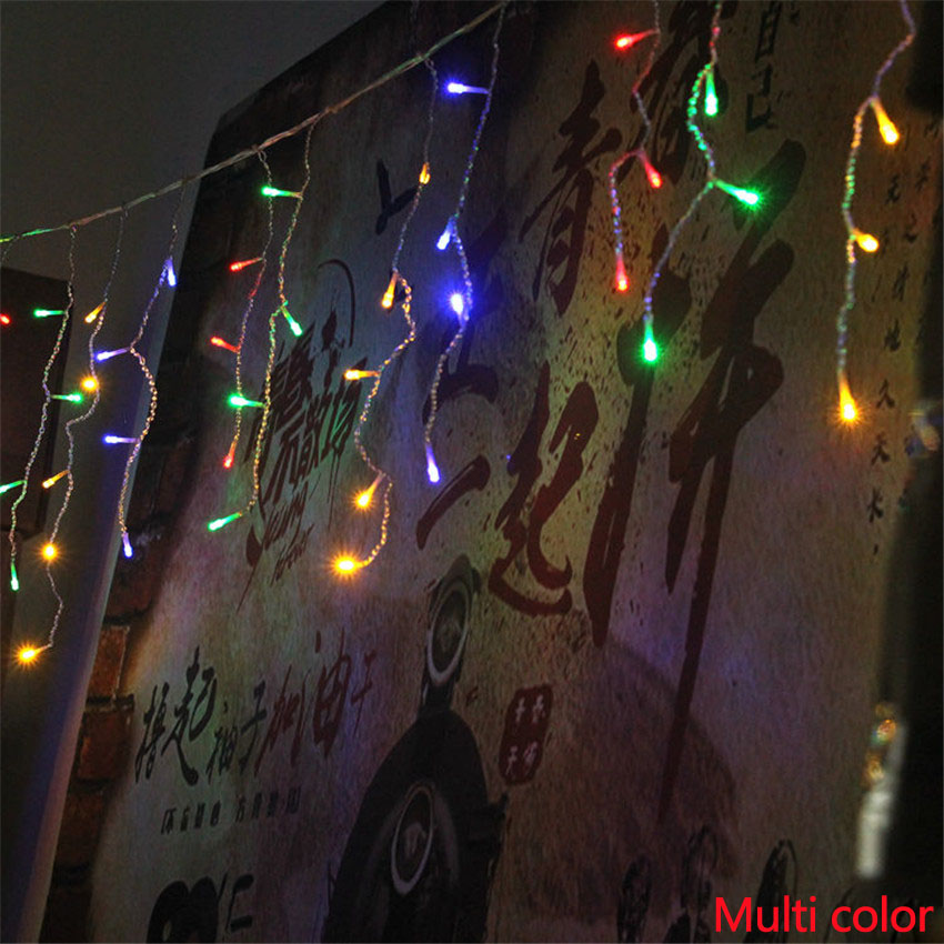 Christmas Lights Outdoor Curtain Icicle String Lamp Decoration 4 meter Droop 0.3-0.5m Led Wedding Party Garland New Year Light