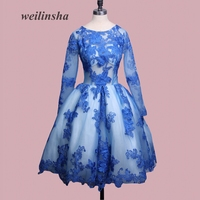 weilinsha 2017 Jewel Royal Blue Cocktail Party Dresses Muslim Prom Gown Formal Short Homecoming Dresses
