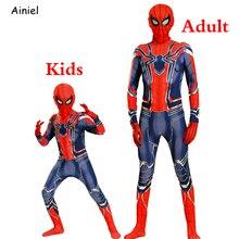 Удивительный костюм паука для косплея железная маска зентай боди комбинезон Супер Герои Хэллоуин вечерние дети мужчины дети