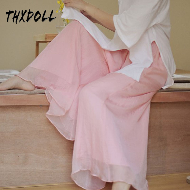 Wide     leg     pants   women 6 colors loose casual fashion chiffon long palazzo   pants