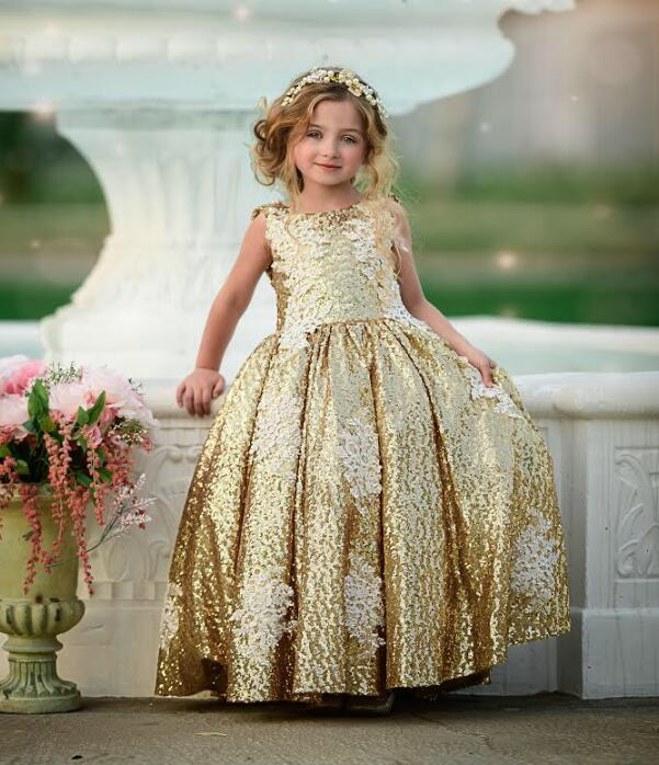 Gorgeous gold bling sequins backless toddler kid ball gown   flower     girl     dresses   princess birthday party gown with lace appliques