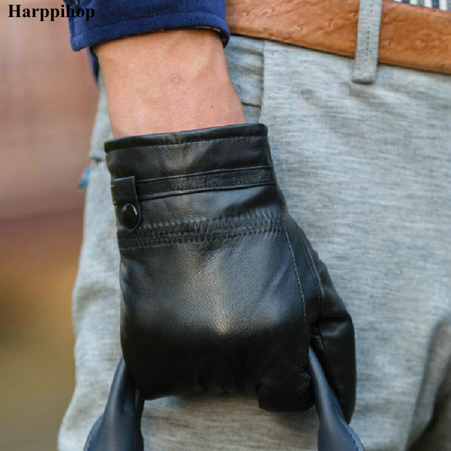 2017 New Autumn Natural Sheepskin Gloves Men Single Leather Thin Section Of The Men's Leather Gloves Special Meniscus