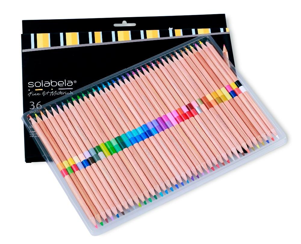 Solabela 24/72 Colors 12/36 Pcs/Set  Safe Non-toxic Pencil Set For Art Supplies Colored Pencils Natural Wooden Pencils