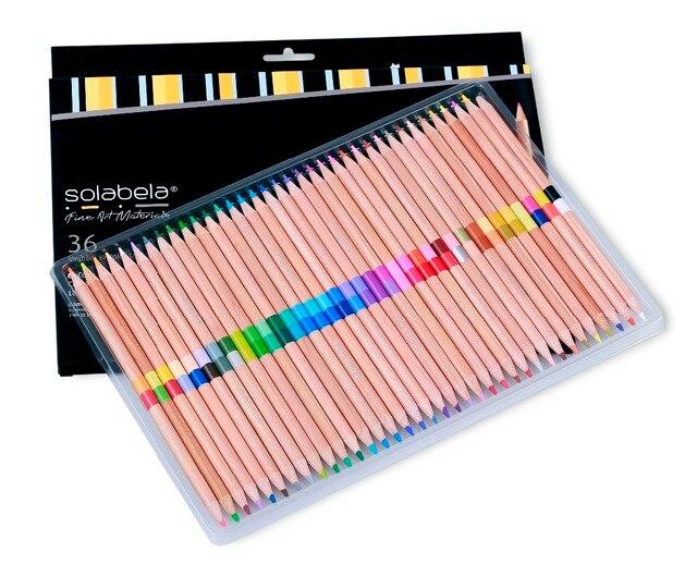 Solabela 72 Цвета 36 шт./компл. безопасные нетоксичные Карандаш Набор для записи рисунок художественные принадлежности Цветной карандаши из натурального дерева Карандаши