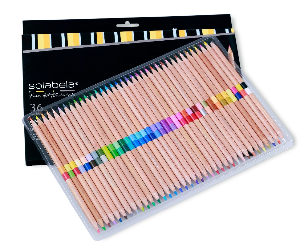 Solabela 72 Colors 36 Pcs/Set  Safe Non-toxic Pencil Set For Write Drawing Art Supplies Colored Pencils Natural Wooden Pencils