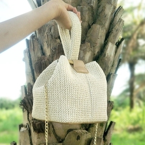 Image 4 - Brand Straw Bags for Women Beach Bag Personality Crossbody Lock Handbag Lady Vintage Handmade Knit Fashion Shoulder Bag