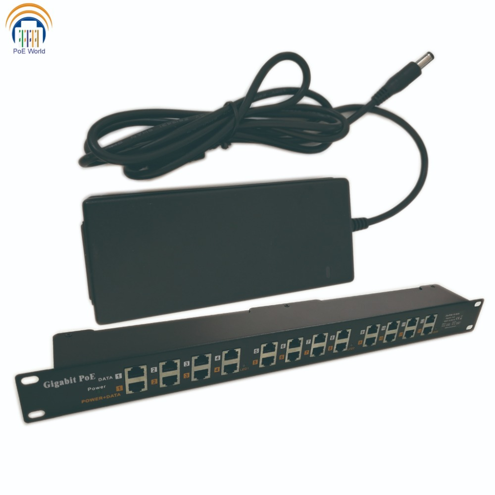 GPOE012 24V120W Gigabit POE 12 Port Power over Ethernet Injector for Mikrotik and Ubiquiti include 24v