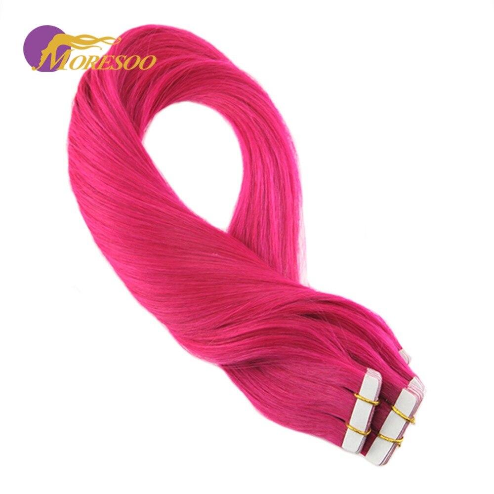Beliebte Marke Moresoo 25g/10 Stücke Bunte Rosa Band In Haar Extensions 100% Remy Menschliches Haar Nahtlose Vollen Kopf Haar Extensions Für Frau Haarverlängerungen