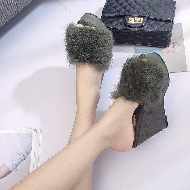 Gruesas rojo Nueva Solid Moda Negro Cuñas Zapatillas 2018 Inferiores Sandalias Mujeres Mujer Zapatos Flatform verde A797 Verano BaEvwq