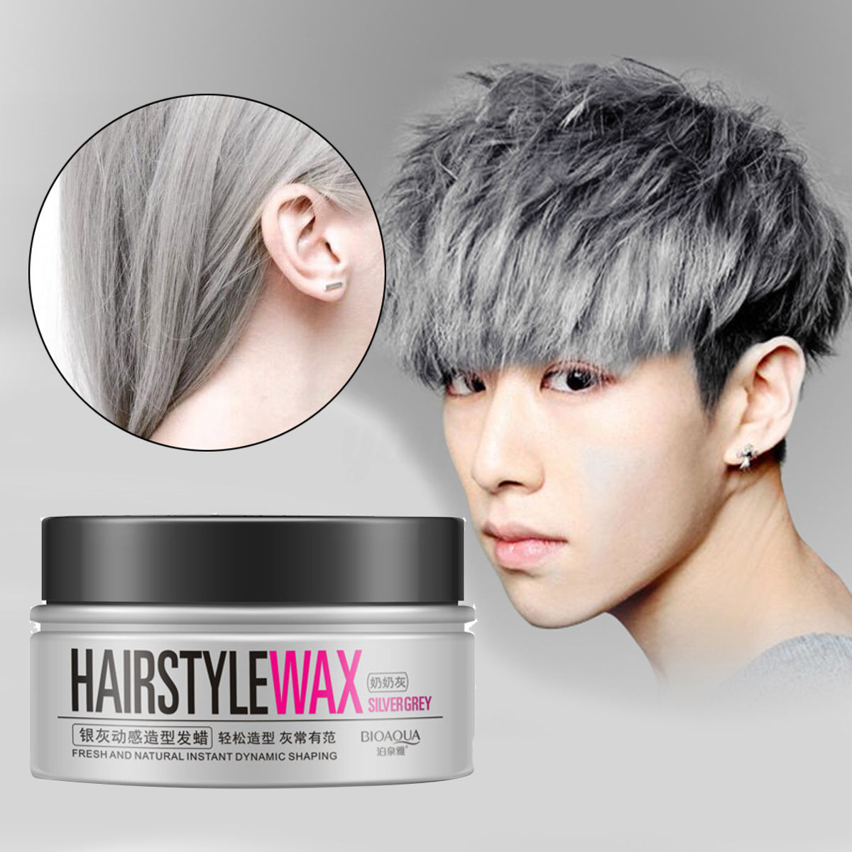 BIOAQUA Unisex Temporary Modeling Gray Silver DIY Hair Color Wax Hair Mud Water Gel Hair Modelling <font><b>Styling</b></font> Products