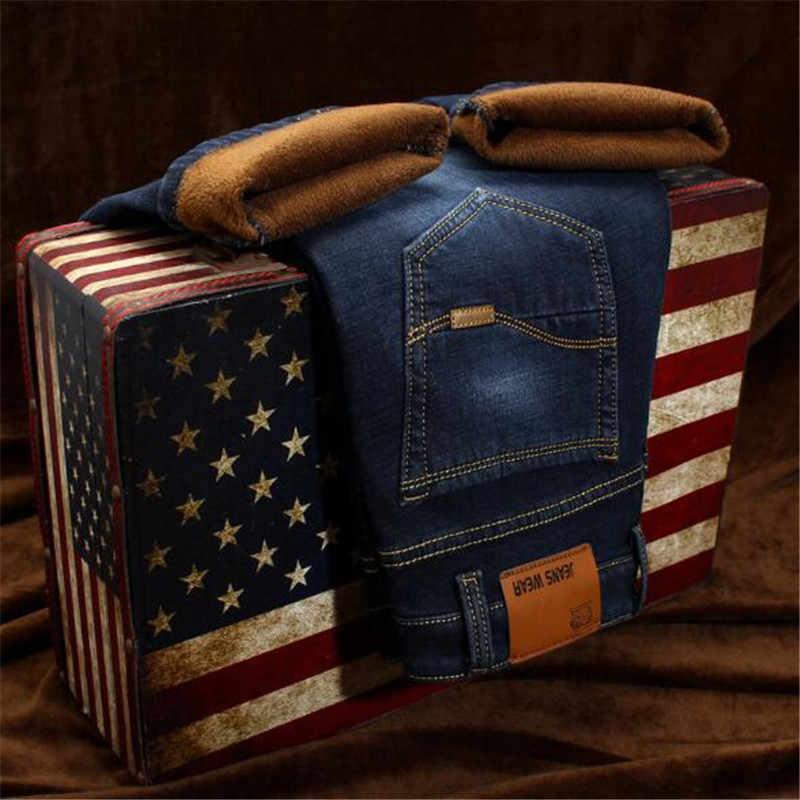 Теплые джинсы мужские зимние высококачественные известные бренды вельветовые флисовые прямые джинсы брюки флокированные теплые мужские штаны мужские 40 32 34